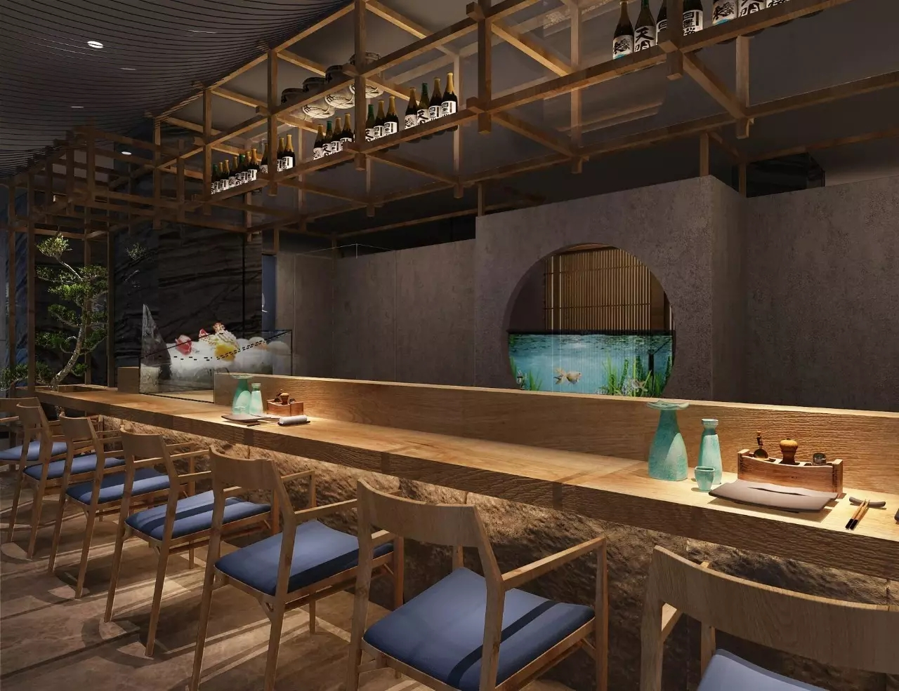 日式烤酒店_火锅店烤专业_成都餐厅设计_肉店刘波设计肉店图片